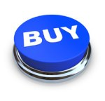 A round, blue buy button on a white background
